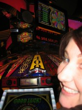 Mila at the oh-so-cool new Wheel of Fortune slot machines