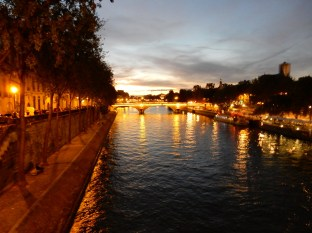 Nighttime arrives in Paris