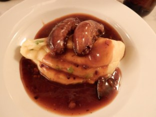 Our first dinner - bangers and mash