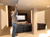 Larry setting up the theater room