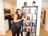 Rekha and her wonderful bookshelf and home