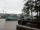 The HMS Belfast is anchored permanently in the Thames