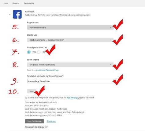 So erstellen Sie ein Sign-up-Formular für MAilChimp auf Facebook