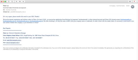 Betrügerische E-Mails mit dem Betreff: CN domain and keyword
