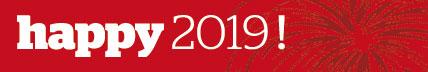 """Schriftzug """"happy 2019"""""""