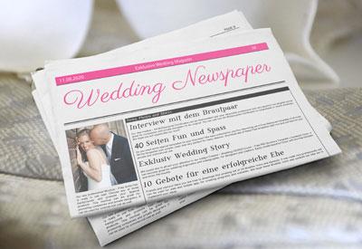 Hochzeitszeitung wie Tageszeitung auf Zeitungspapier