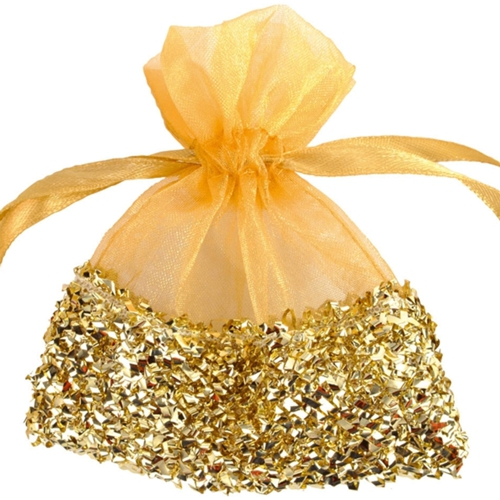 Gastgeschenkeutel zur Hochzeitsdekoration Organzasckchen Gold mit GoldfolieLU HS hochzeit