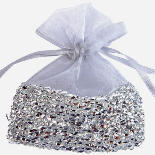 Gastgeschenkeutel zur Hochzeitsdekoration Organzasckchen Silber mit SilberfolieLU HS