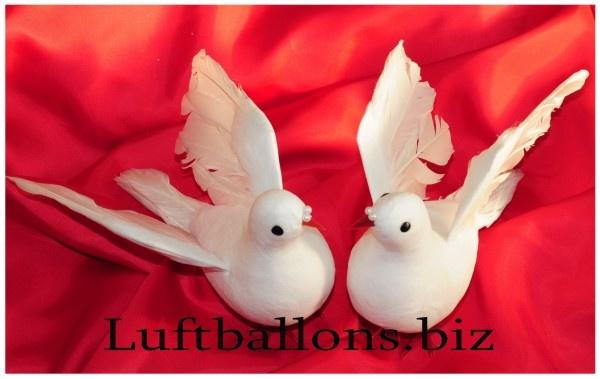 Tischdekoration und Hochzeitsdekoration Taubenpaar Wei
