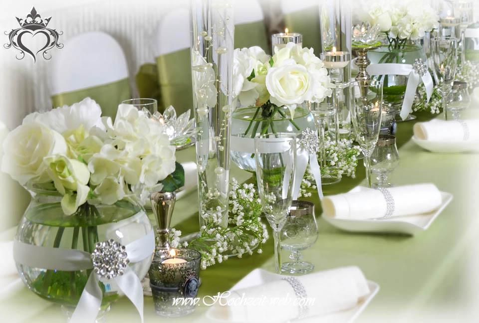 Hochzeitsdekoration in grn und Eventdeko in wei und grn