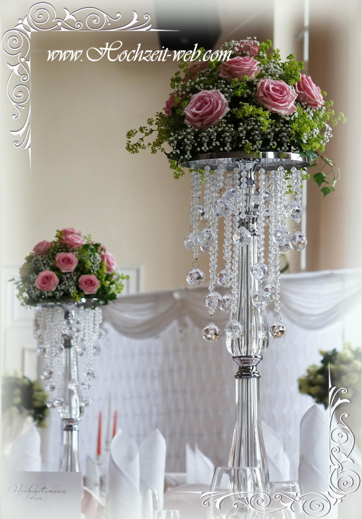 Besondere Hochzeitsdeko mit Kristallstnder fr glamourse