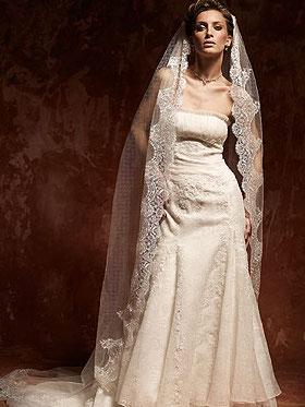 Verziertes Brautkleid mit Schleier