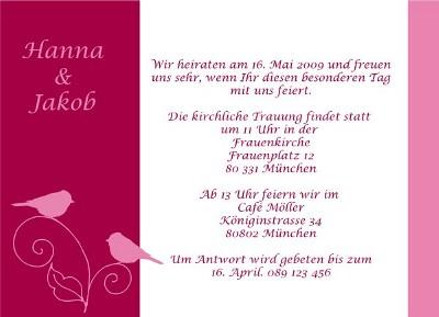 Hochzeitskarte Einladung zur Hochzeit