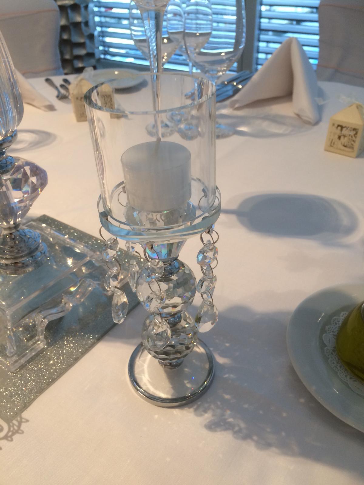 Teelicht GlasKristall 15cm  Hochzeitsdekoration