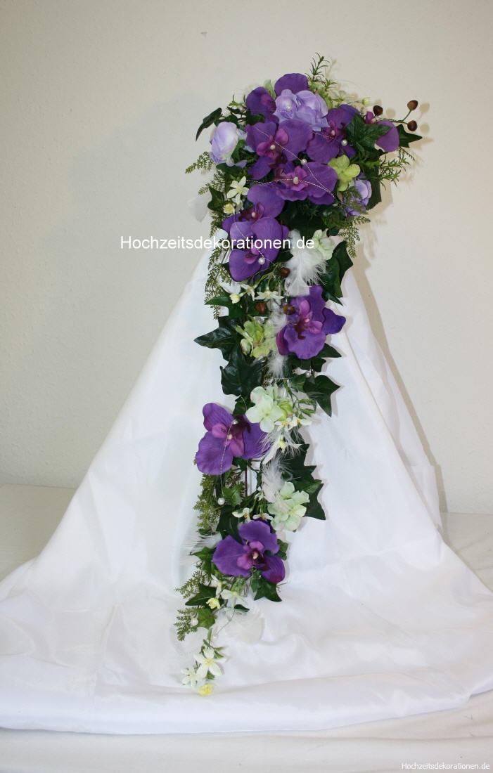 Brautstrauss Orchideen mit Federn  Hochzeitsdekorationen