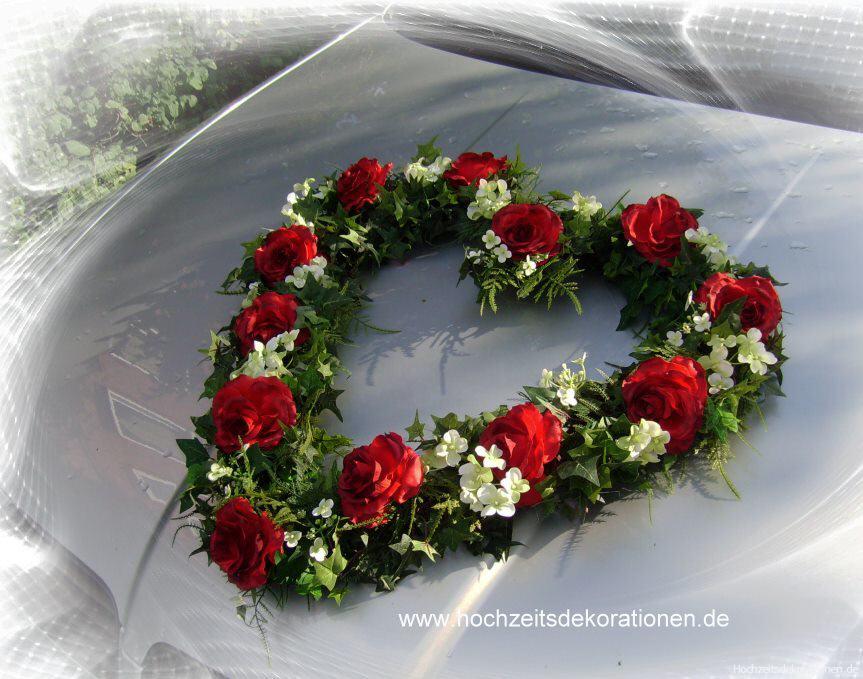 Autoherz Rosen und Hortensien  Autoherz Rosen und