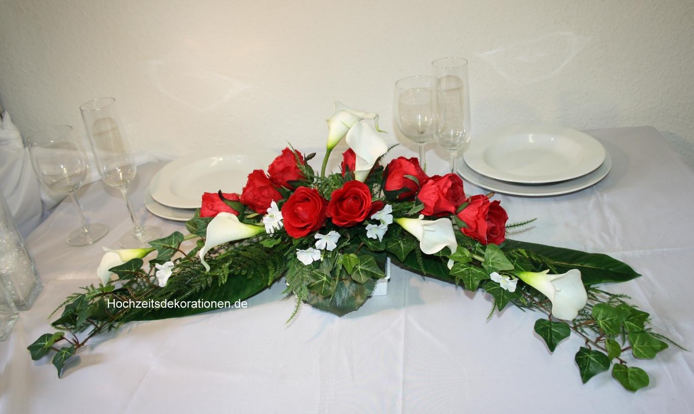 Paargesteck Rosen und Callas  Hochzeitsdekorationen