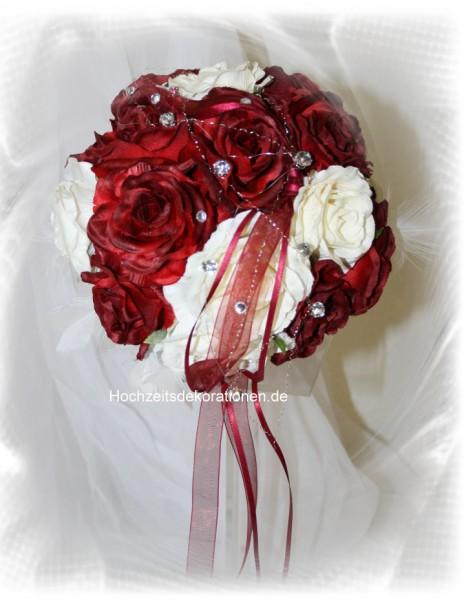 Brautstrauss Rosenkugel rot weiss  Hochzeitsdekorationen