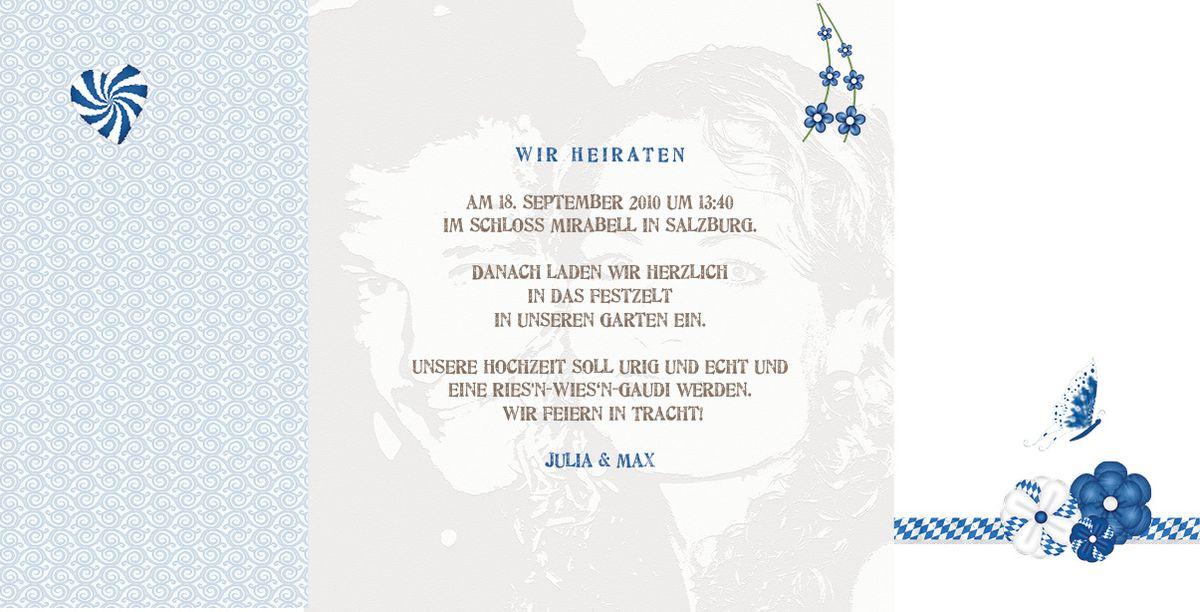 Altarfalz Hochzeitseinladungskarte  Znftig  bayrisch