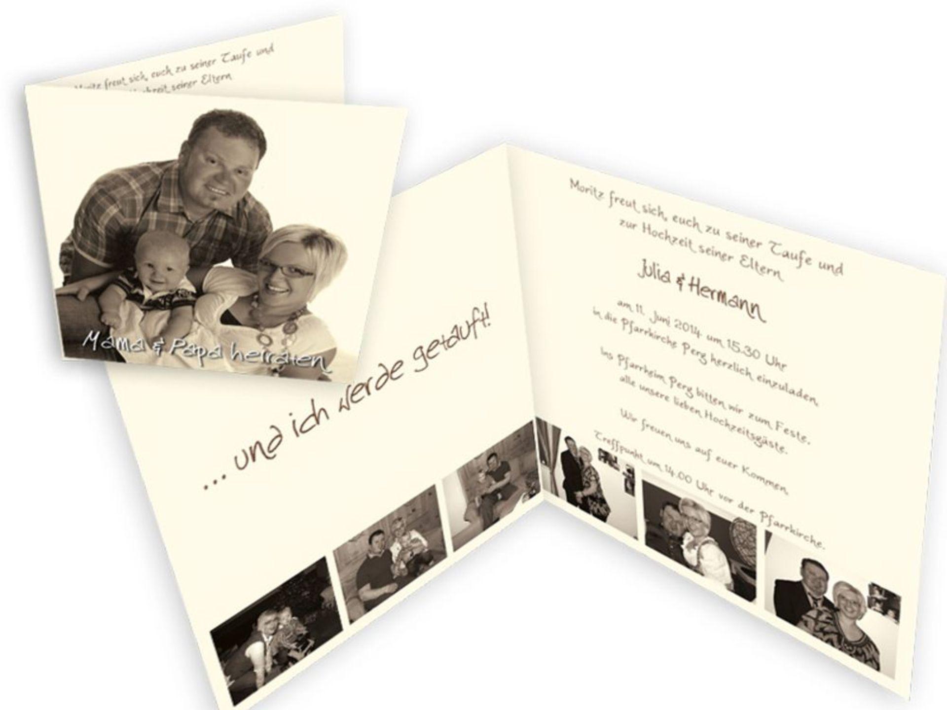 Spezielle Einladungskarten fr eine Hochzeit mit Taufe