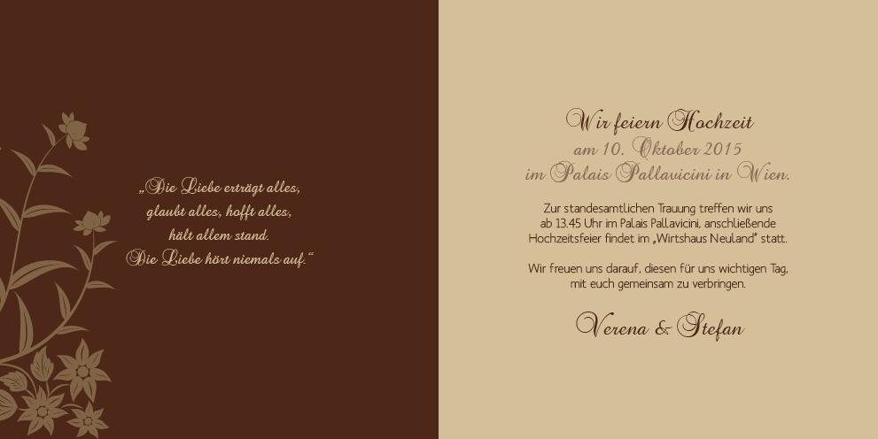 Hochzeitseinladung Florale Elemente in Dunkelbraun