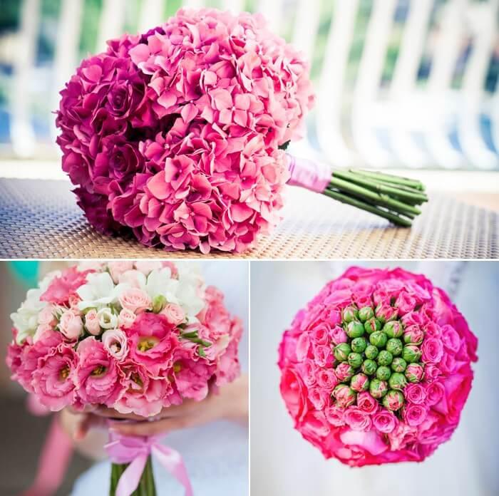 Brautstrau in Rosa oder Pink  viele Ideen von zart bis knallig