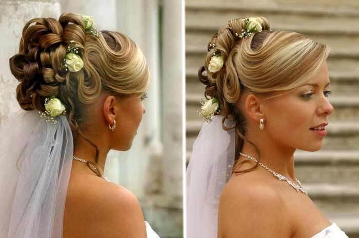 Brautfrisuren  offen halboffen mit Schleier Viele