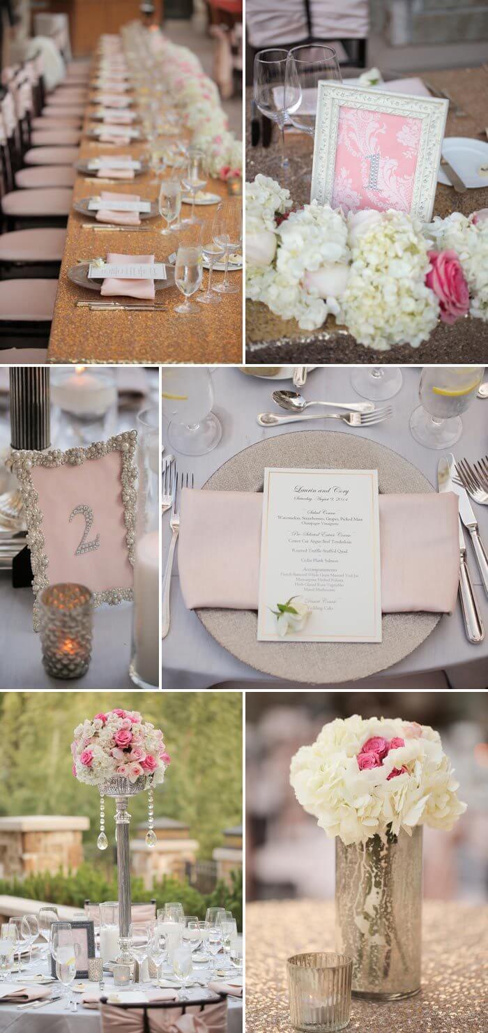 Hochzeitsdeko rosa und glitzernd  Ideen  Inspirationen