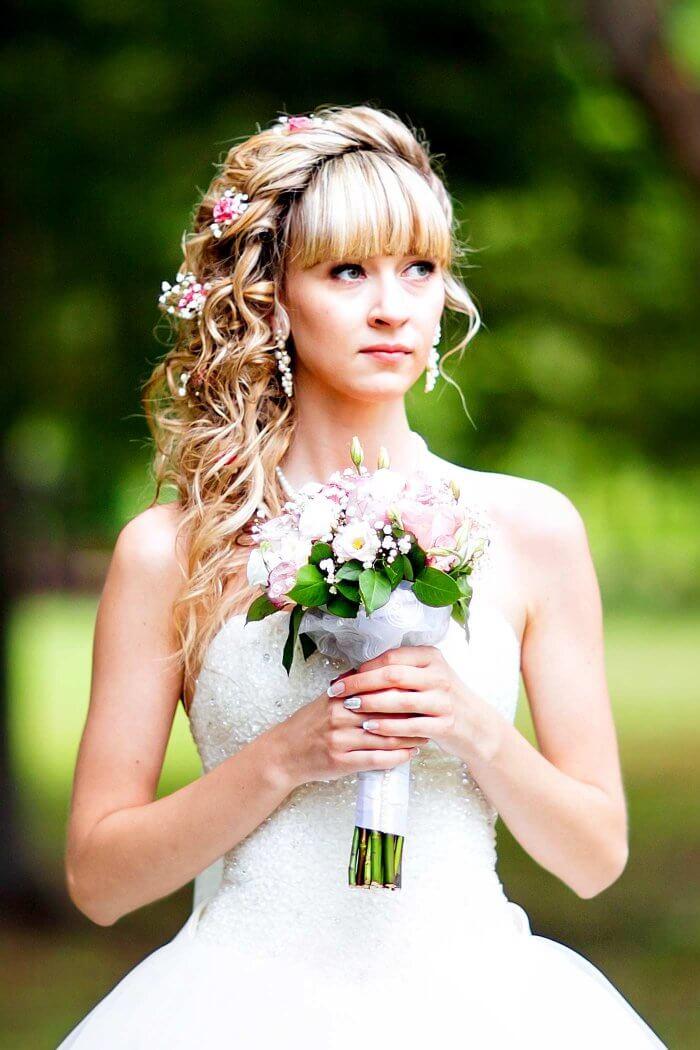 Brautfrisur mit Pony  Bildergalerie mit hbschen
