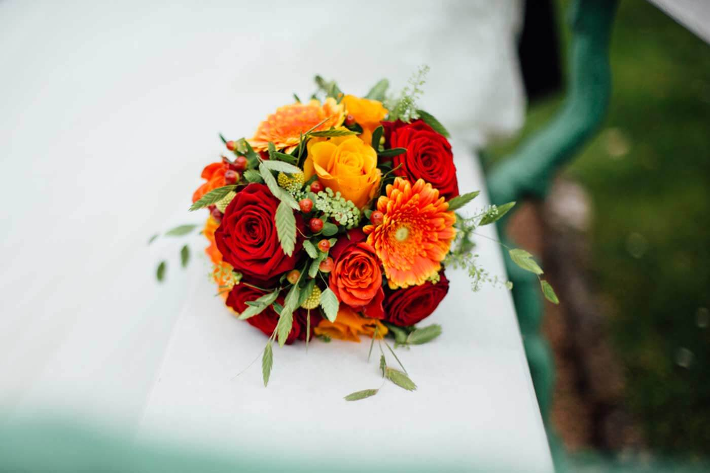 Brautstrau in Orange  Rot  Groe Bildergalerie mit