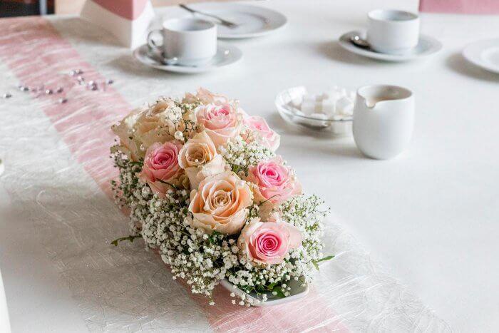 Tischdeko Rosa