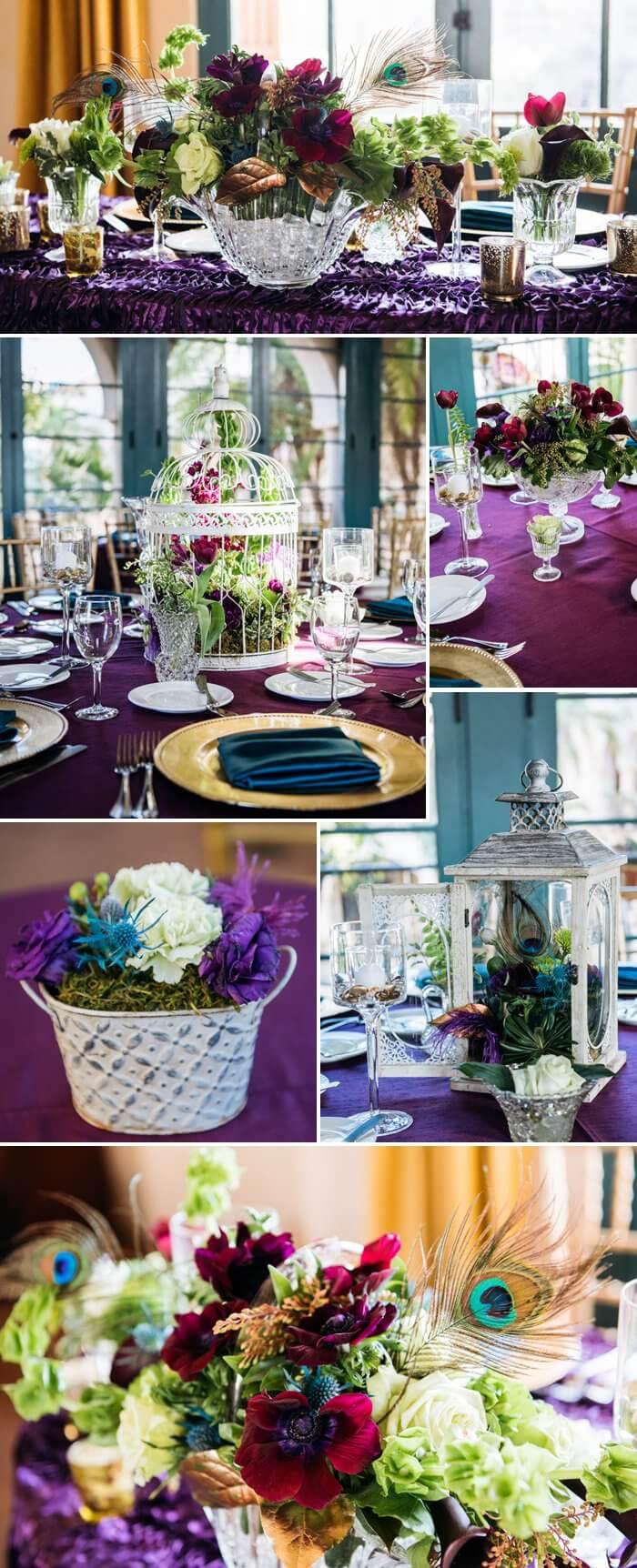 Pfauenfedern zur Hochzeit  Eine Fotostory in Lila  Blau