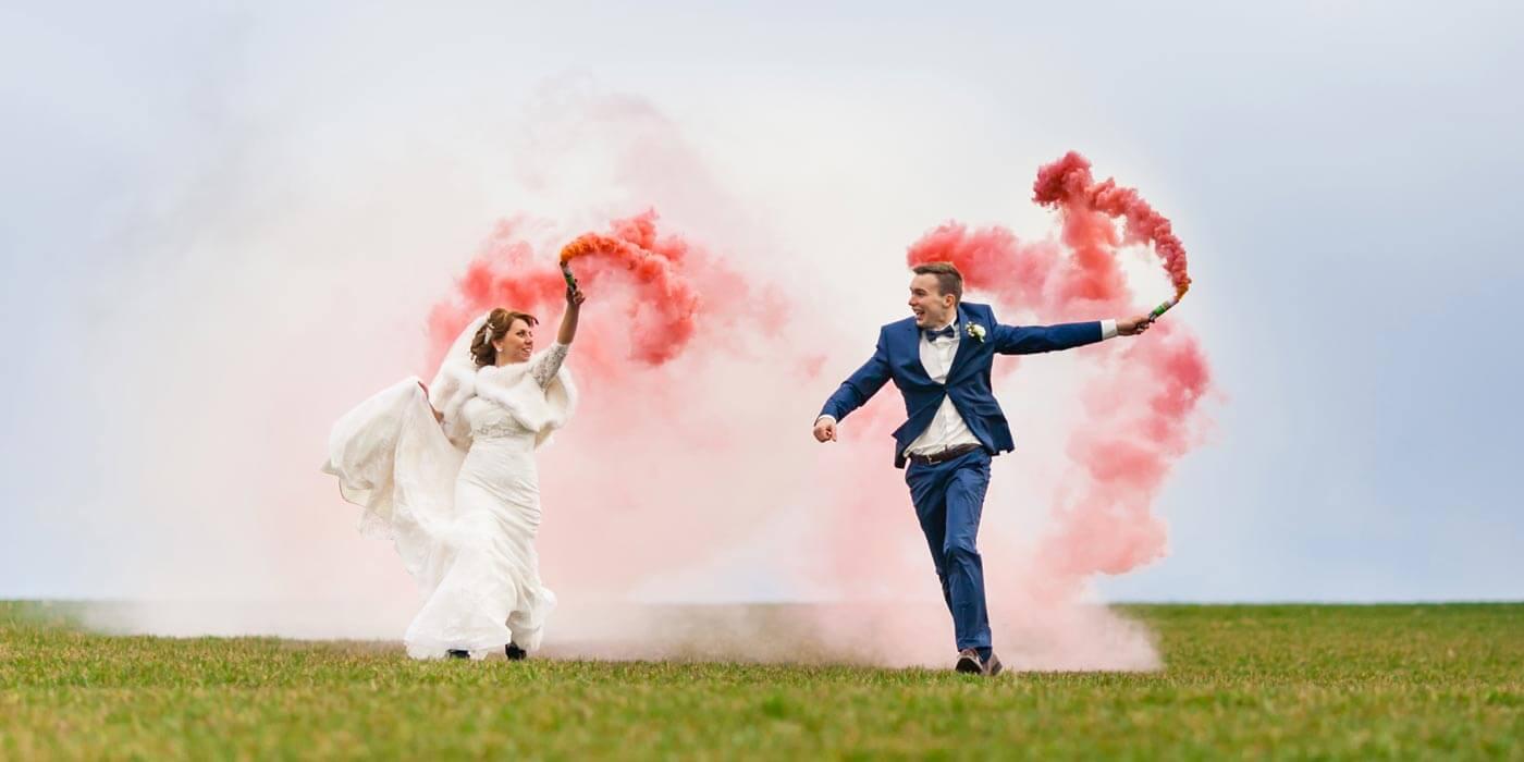 Smoke Bomb  Ideen fr beeindruckende Hochzeitsfotos