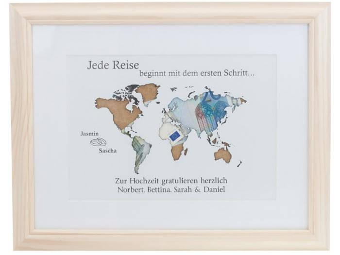 Geldgeschenk Weltkarte  Tolle Idee fr Reisefans zur Hochzeit
