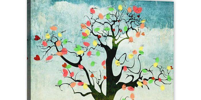 Hochzeitsbaum mit Fingerabdruck  da machen alle Gste