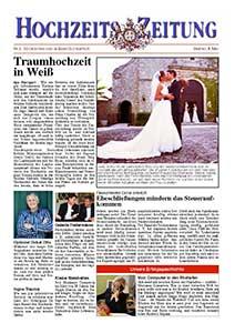 Verschiedene Beispiele einer Hochzeits Zeitung