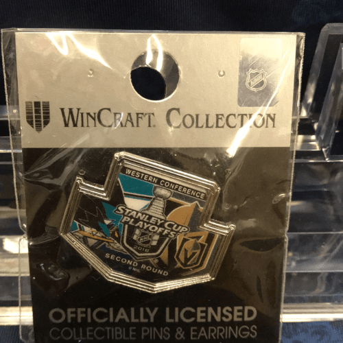 2019 Western Conference Round 2 play off pin. San Jose Sharks vs Las Vegas Golden Knights.