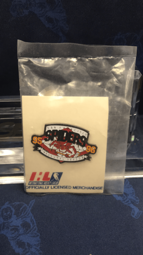 """1995-1996 IHL San Francisco Spiders """"Spinner the Spider"""" pin."""