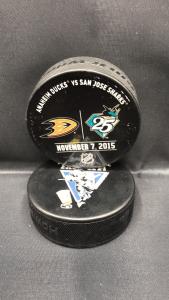 2015 San Jose Sharks vs Anaheim Ducks used warm up puck. November 7 2015.