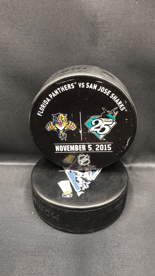 San Jose Sharks vs Florida Panthers Used warm up puck. November 5 2015.