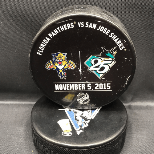 San Jose Sharks vs Florida Panthers Used warm up puck. November 5 2015.