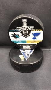 2019 San Jose Sharks vs St.Louis Blues Western Finals Playoffs collection puck.