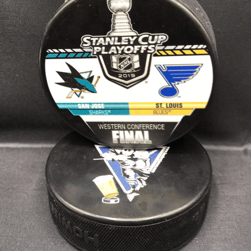 2019 San Jose Sharks vs St.Louis Blues Western Finals Playoffs collection puck.