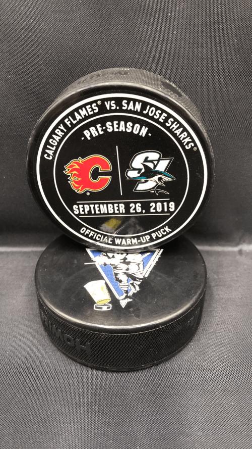 2019 San Jose Sharks vs Calgary Flames Used Preseason Warm Up puck.