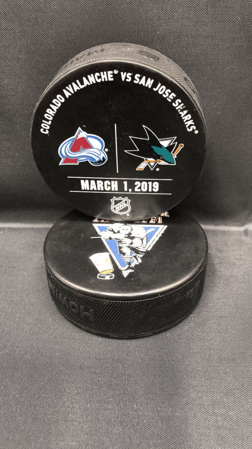 2019 San Jose Sharks vs Colorado Avalanche Used Warm up Puck. March 1 2019.