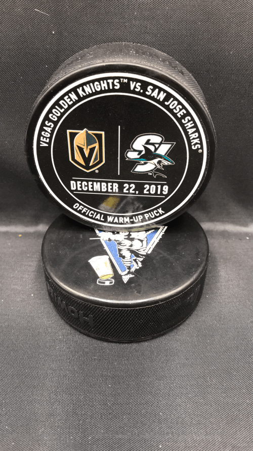 2019 San Jose Sharks vs Vegas Golden Knights Used Warm Up Puck. December 22 2019