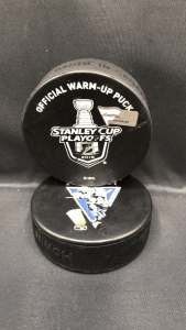 2019 San Jose Sharks vs Colorado Avalanche Stanley Cup Playoffs Round 2 official warm up puck. Game 2.