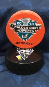 2018 San Jose Barracuda Calder Cup Playoffs official Souvenir puck. #notdoneyet