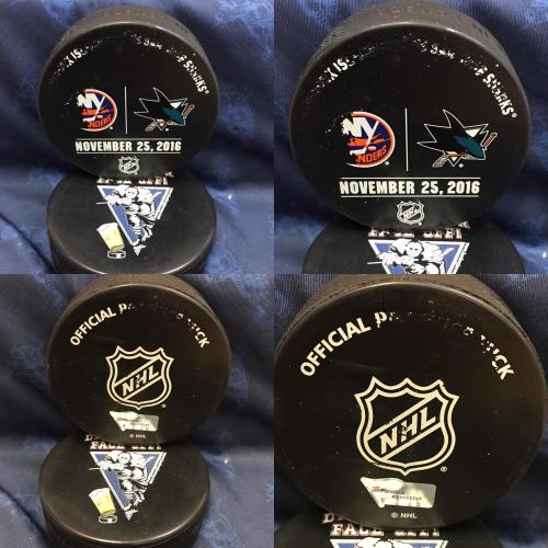 2016 San Jose Sharks vs New York Islanders Official used Warm Up Puck. November 25 2016 #AA0022225