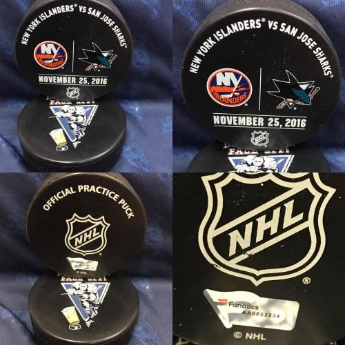 2016 San Jose Sharks vs New York Islanders Official used Warm Up Puck. November 25 2016 #AA0022223